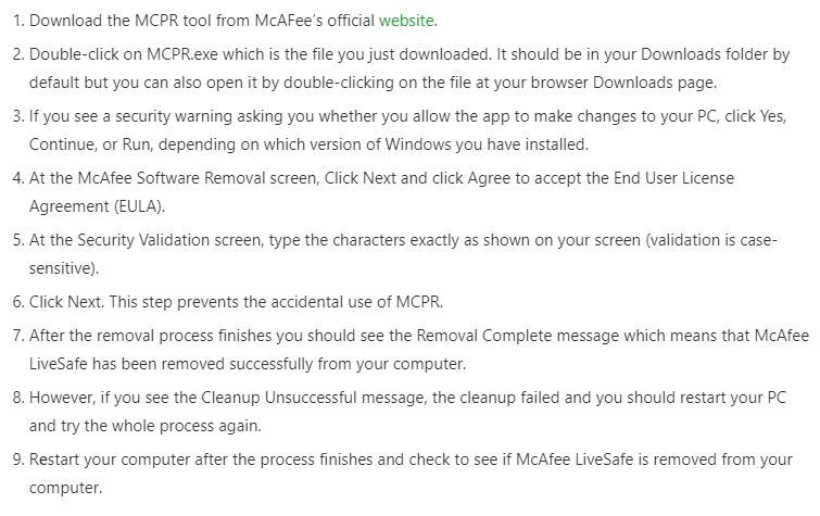 Download and Run the Mcafee Consumer Product Removal Tool